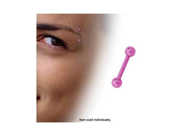 Pink Straight Barbell Titanium Eyebrow Ring (14 Gauge)