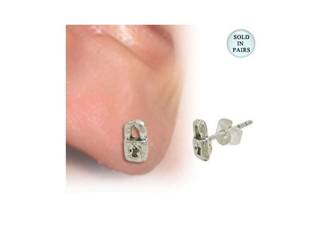 Stud Earrings .925 Sterling Silver with Lock Shape Design