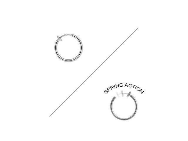 Rhodium Plated Silver Color Non-piercing Spring Hoop