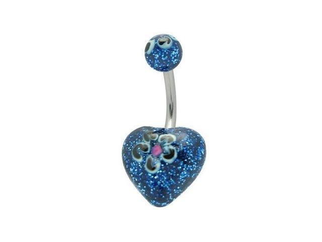 Acrylic Dark Blue Glitter Hand Painted Flower Heart Belly Ring