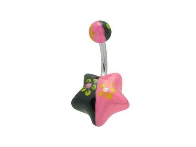 Acrylic Hand Painted Black & Pink Star Belly Ring