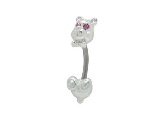 Teddy Bear Belly Ring with Purple Cz Gems
