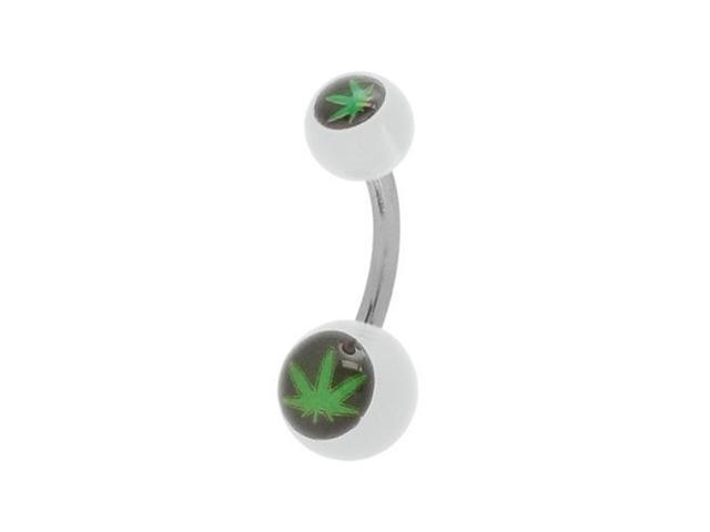 Pot Leaf Belly Ring with Clear Acrylic Beads
