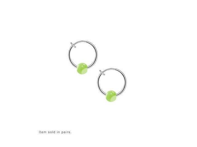 Non Piercing Spring Hoop Body Jewelry with Acrylic Green Marble Like Beads