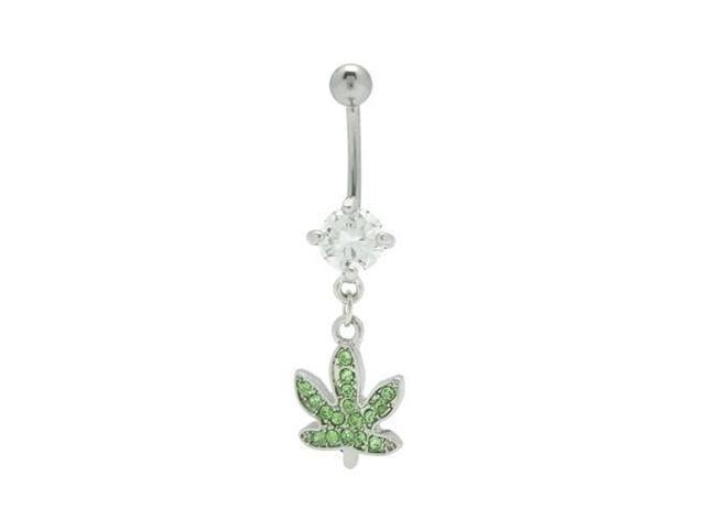 Dangle Pot Leaf Belly Ring with Cz Gems