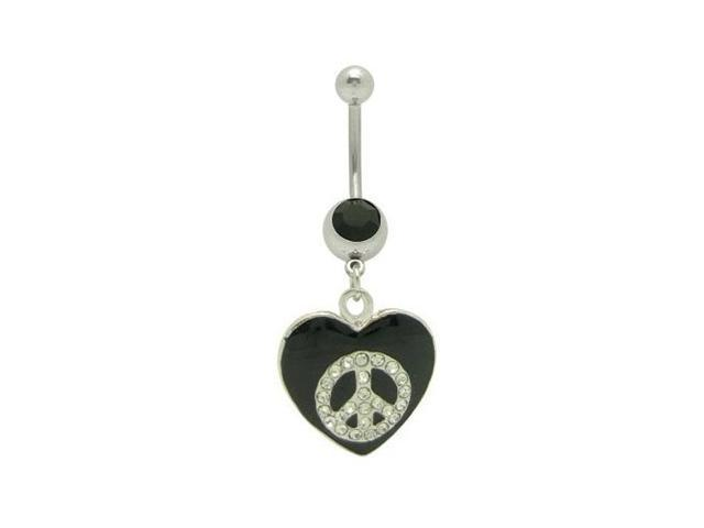 Dangle Heart Peace Sign Belly Ring with Clear Cz Gems