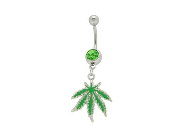 Dangle Green Pot Leaf Belly Ring with Green Cz Gem