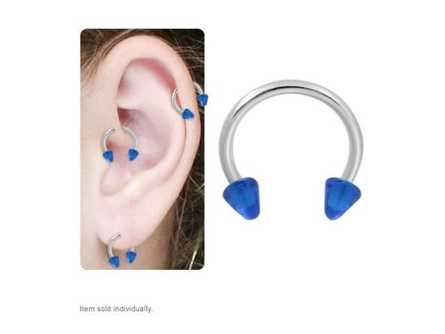 Cartilage Tragus Horseshoe Ring with Dark Blue Acrylic Spike Beads 16g 8mm