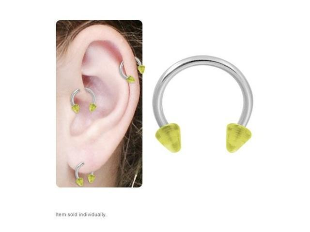 Cartilage Tragus Horseshoe Ring with Yellow Acrylic Spike Beads 16g 8mm
