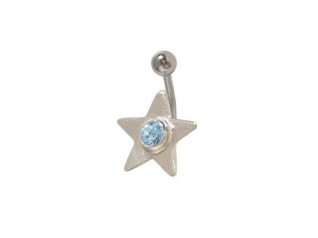 Star Belly Button Ring with Light Blue Cz Gem