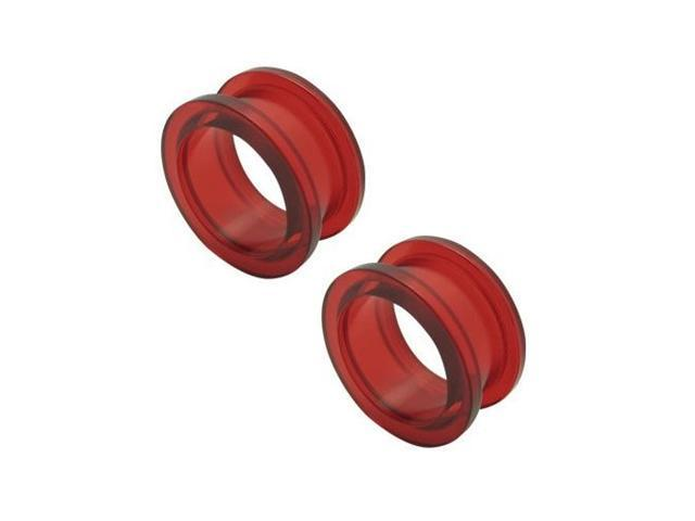 2 Red Acrylic Ear Plugs - 18mm
