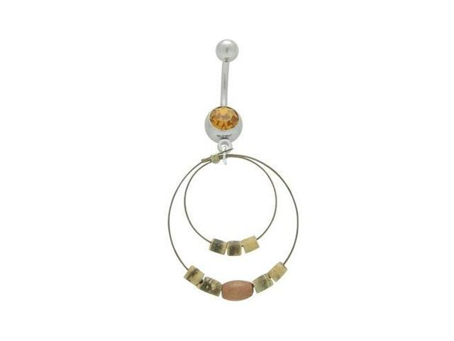 Dangle Wire Hoops & Beads Belly Button Ring