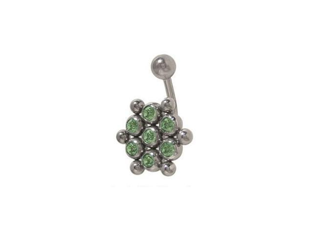 Light Green Cz Gem Belly Button Ring Surgical Steel