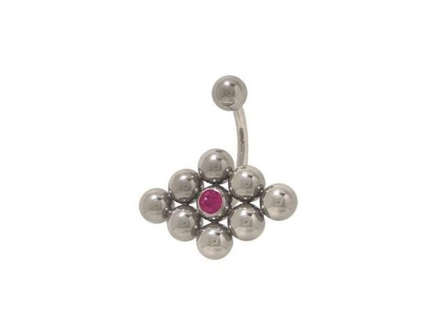 Surgical Steel Belly Ring Purple Cz Gems