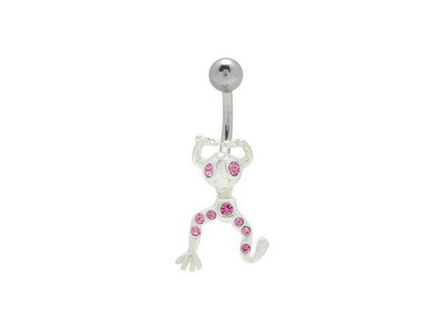 Frog Belly Button Ring with Purple Cz Gems
