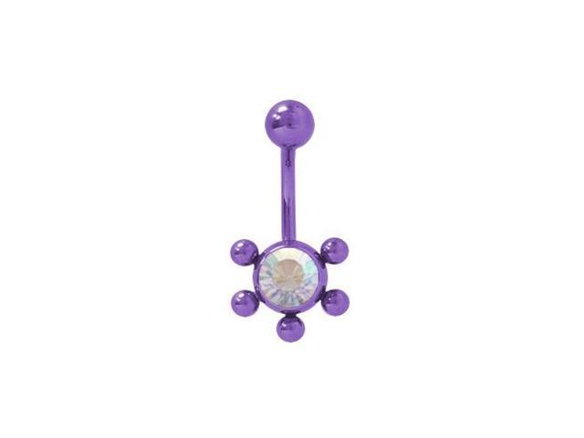 Purple Color Solid Titanium Belly Ring with Opal Cz Jewel