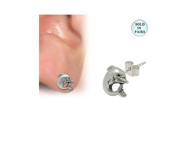 Sterling Silver Dolphin Ear Studs