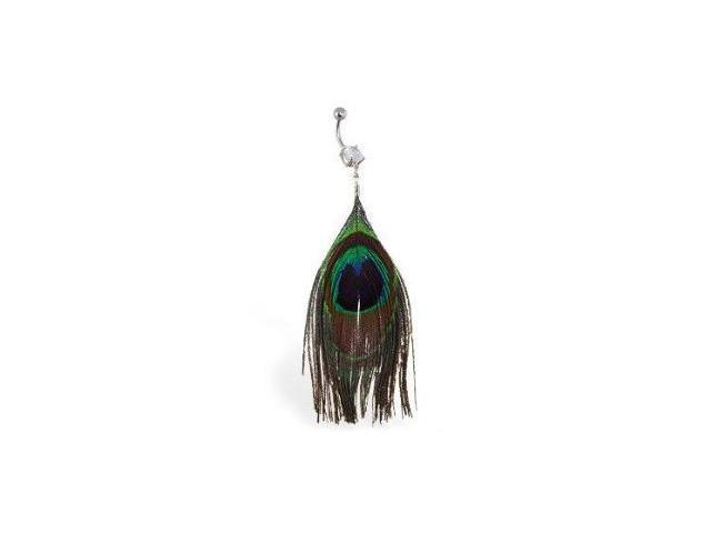 Real Feather Belly Bar Ring with Peacock Design