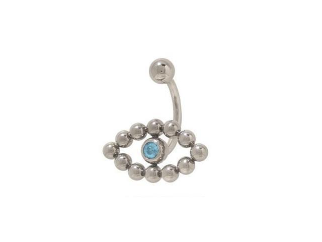 Surgical Steel Light Blue Cz Gem Eye Navel Ring