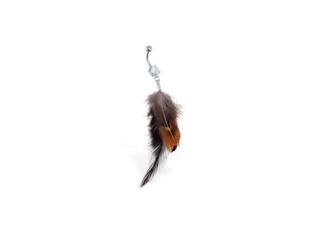 Top Quality Feather Belly Bar Ring with Brown and Black Design
