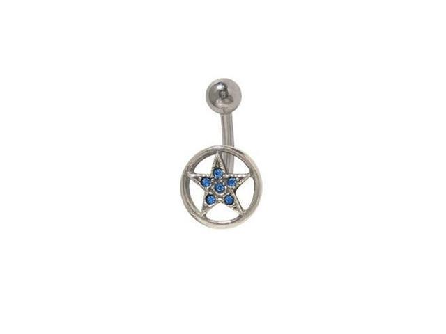 Star Circle Belly Button Ring with Dark Blue Cz Jewels