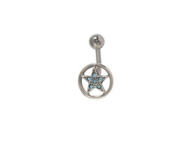 Star Circle Belly Button Ring with Light Blue Cz Jewels