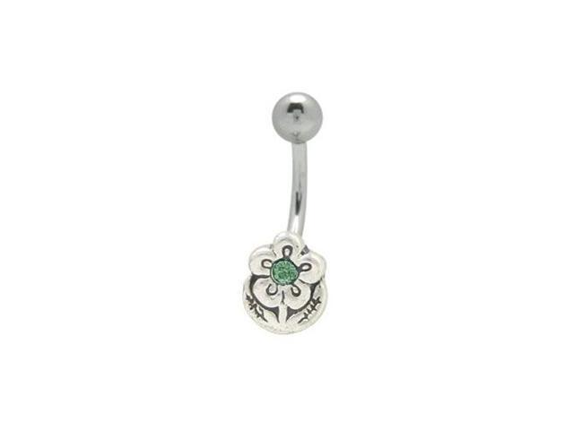 Flower Navel Ring with Dark Green Cz Gem