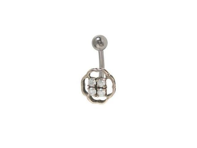 Classic Navel Ring with Clear Cz Jewels