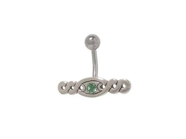 Art Deco Design Belly Ring with Dark Green Jewel
