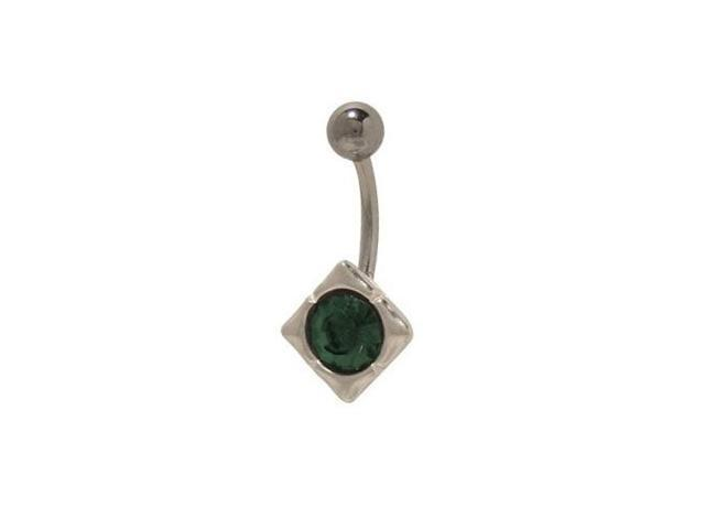 Antique Belly Button Navel Ring with Dark Green Gem