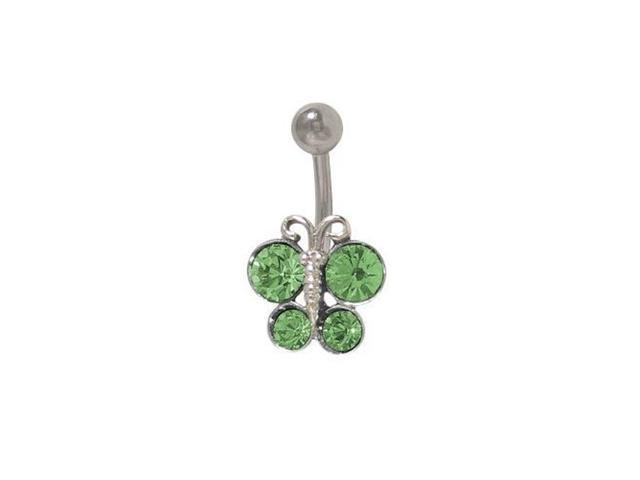 Butterfly Belly Button Ring with Light Green Cz Jewels