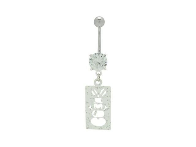 Dangle Snow Man Charm Belly Ring with Cz Gem
