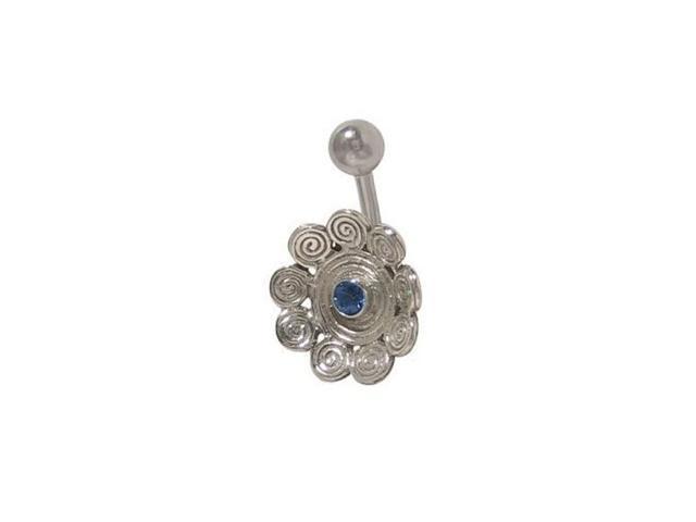 Antique Flower Belly Button Ring with Dark Blue Jewel
