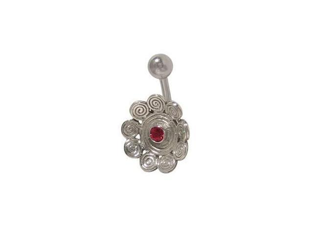 Antique Flower Belly Button Ring with Red Jewel