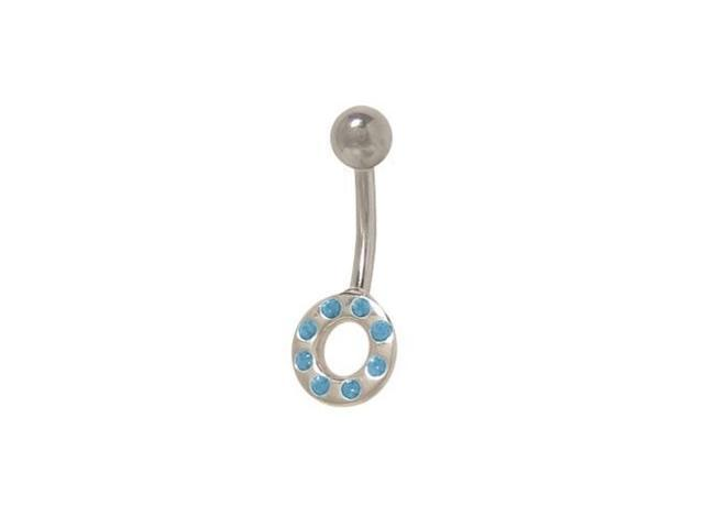 Circle Belly Ring with Light Blue Cz Jewels