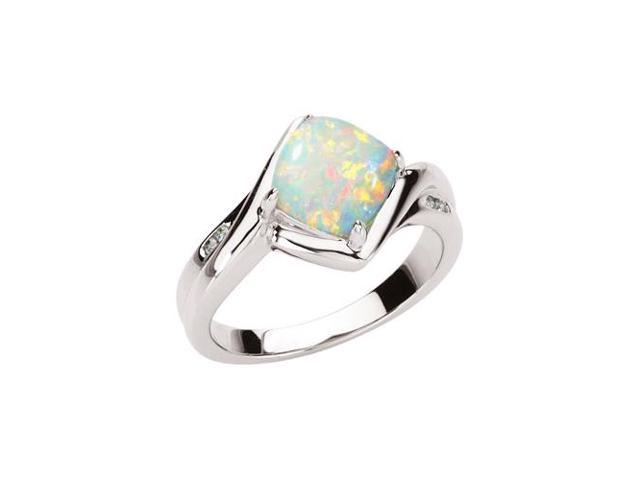 14K White Gold Diamond Accent and 1 1 3 ct Cushion Cut Opal Cabochon Ring Ne