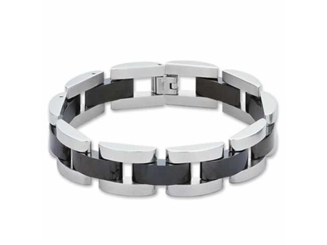 New Stainless Steel with Black PVD Link Bracelet 9 Inch