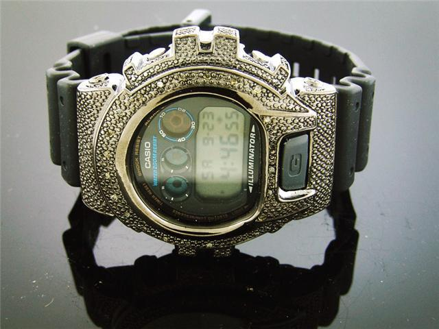 Men Casio G Shock 0.25CT Diamond Black Face Watch 6900