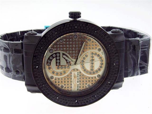 New King Master Round 12 Diamonds 50MM Black Case Watch
