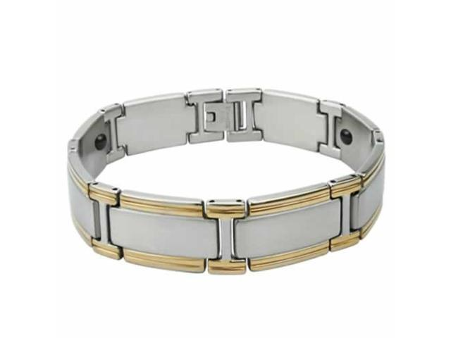 New Two Tone Magnet Stainless Steel Brcalet 9 Inch