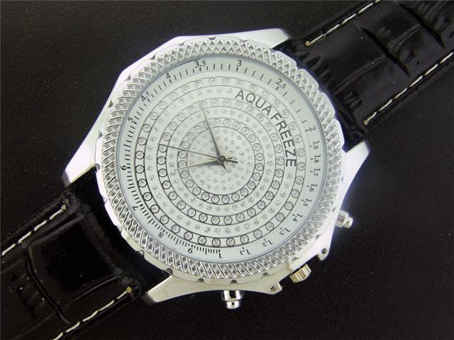 New Aqua Freeze By KM 50MM Case 2 Diamonds Watch