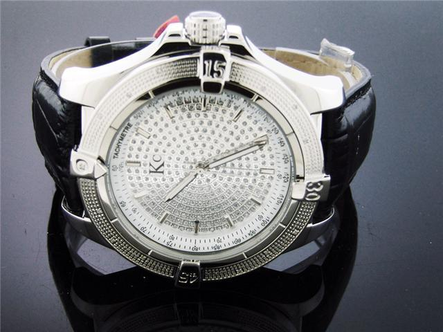 Techno Com by KC 50 MM 0.15CT Diamond Watch Silver Face