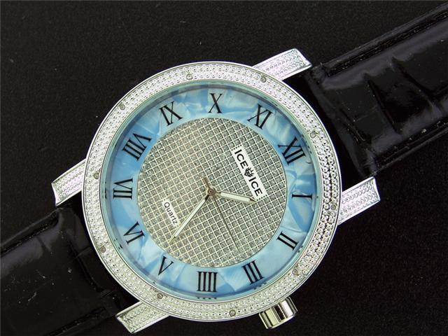 Ice Ice By Icetime 52 MM 10 Diamonds Blue/ Silver Watch
