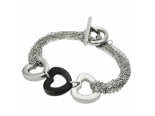 Stainless Steel Bracelet with Steel & Black PVD Hearts