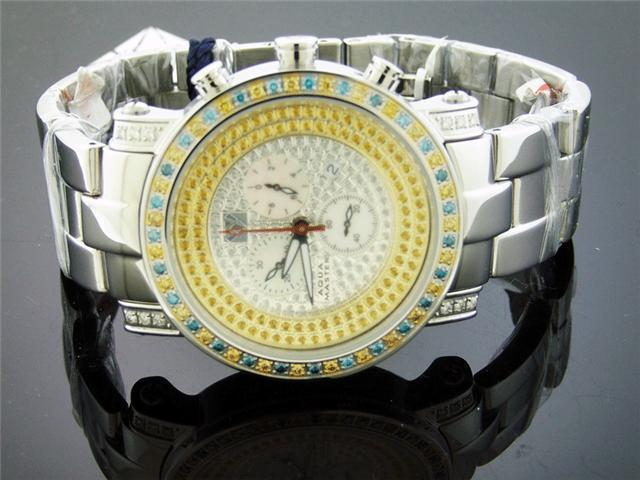 NEW AQUA MASTER 2.60CT CANARY DIAMONDS ONE ROW WATCH