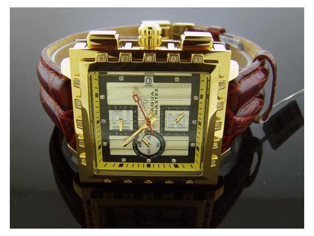 AQUA MASTER 40MM SQUARE 20 DIAMONDS YELLOW GOLD WATCH