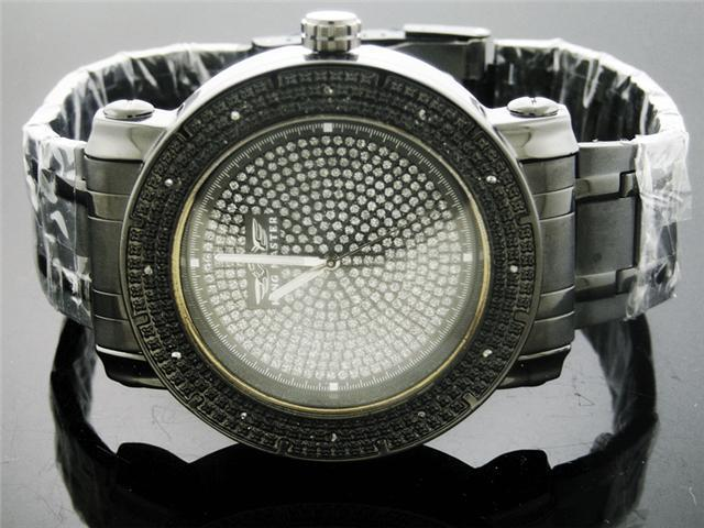 King Master 0.12CT Diamond Watch Black Case Metal Band
