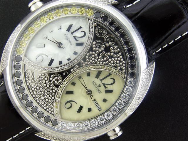 New IceTime Two Time Zone 12 diamonds 48mm Watch