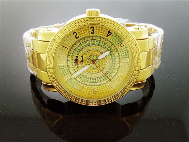 Techno Royale 50MM Round Gold Tone 12 Diamonds Watch