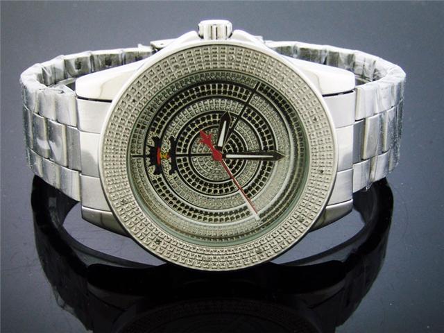 Techno Royale 50MM Round Silver Tone 12 Diamonds Watch